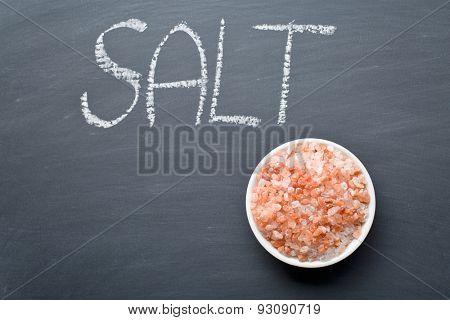 the himalayan salt on blackboard