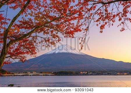 Mt. Fuji, Japan at Lake Kawaguchi during autumn season.