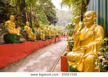 Statues at Ten Thousand Buddhas Monastery in Sha Tin, Hong Kong, China.