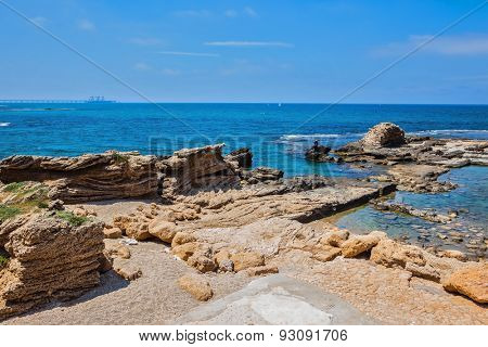 National Park Caesarea, Israel. The remains of ruined castle walls in Mediterranean sea