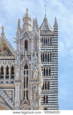More detailed look on tower Siena Cathedral in Siena, Italy
