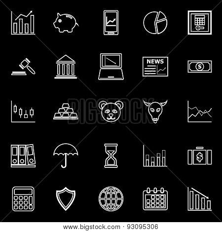 Stock Market Line Icons On Black Background