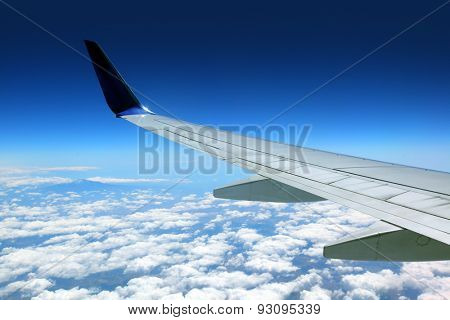 Airplane wing with blue sky