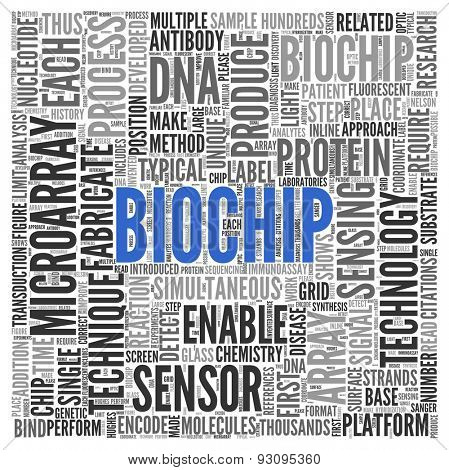 Close up BIOCHIP Text at the Center of Word Tag Cloud on White Background.