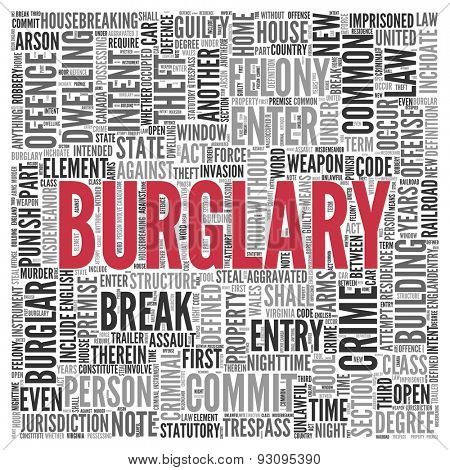 Close up BURGLARY Text at the Center of Word Tag Cloud on White Background.