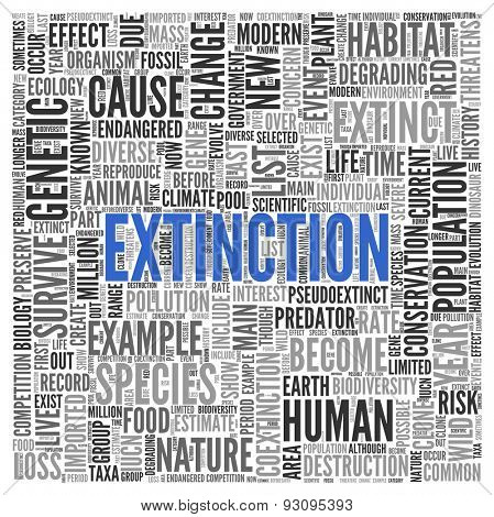 Close up EXTINCTION Text at the Center of Word Tag Cloud on White Background.