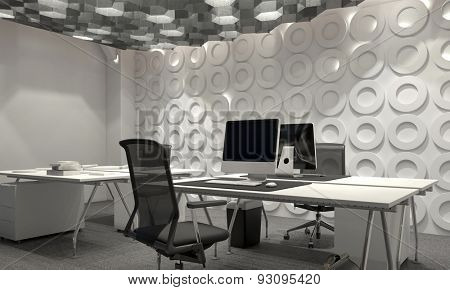Modern corporate management office interior with a geometric patterned feature wall and desk and worktable lit by hexagonal down lights. 3d Rendering
