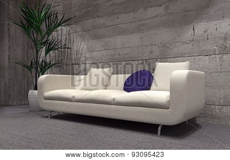 Large modern upholstered cream sofa in front of a cement brick wall lit by down lights with a potted palm in a stark grey living room interior. 3d Rendering