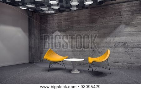 Contemporary seating area in a waiting room with two modular yellow triangular chairs around a small table in front of a grey cement brick wall lit by down lights. 3d Rendering