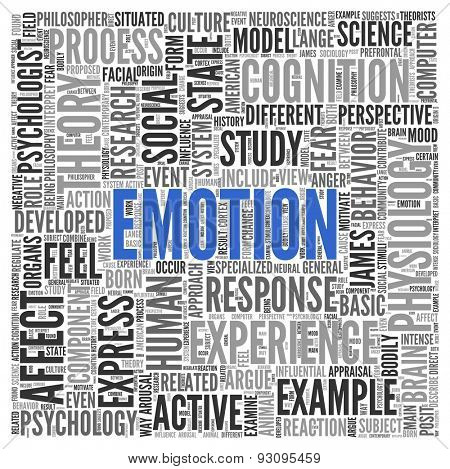 Close up EMOTION Text at the Center of Word Tag Cloud on White Background.