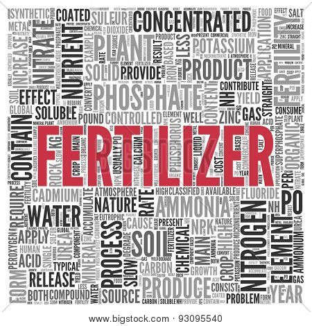 Close up FERTILIZER Text at the Center of Word Tag Cloud on White Background.