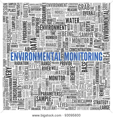 Close up ENVIRONMENTAL MONITORING Text at the Center of Word Tag Cloud on White Background.
