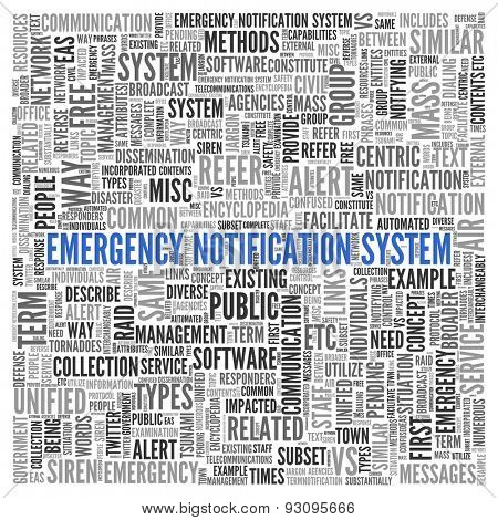 Close up EMERGENCY NOTIFICATION SYSTEM Text at the Center of Word Tag Cloud on White Background.