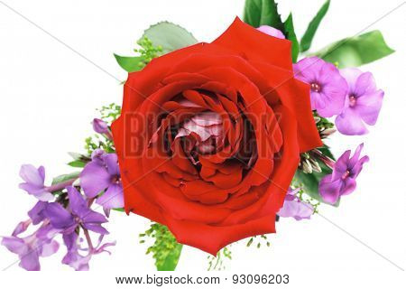 flowers : small bouquet of rose and pansy flowers with green grass isolated over white background