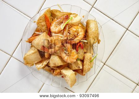Stir fried spicy shrimp tofu is ready to be served