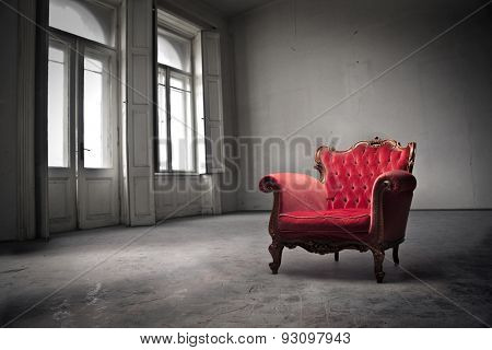 Red chair placed in a square