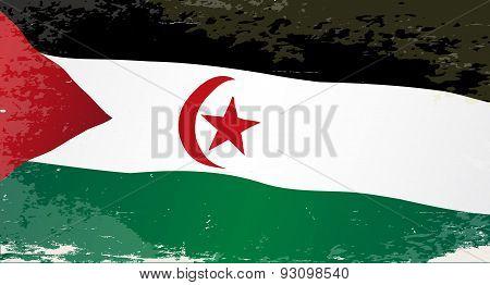 Western Sahara Grunge Flag