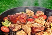 pic of baby back ribs  - Meat And Vegetables Mix On The Hot BBQ Charcoal Grill - JPG