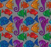 image of seahorse  - Vector Ornate Sea Seamless Pattern with fishes - JPG