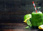 image of celery  - Fresh organic green smoothie with spinach - JPG