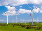 stock photo of wind wheel  - Wind farm in a field in Sicily - JPG