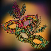 foto of venetian carnival  - Vector illustration of two ornate floral Venetian carnival masks with feathers - JPG