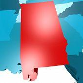 picture of alabama  - Alabama map on blue USA map image with hi - JPG