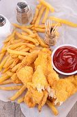 stock photo of fried chicken  - french fries and fried chicken - JPG