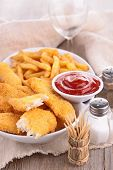 picture of fried chicken  - french fries and fried chicken - JPG