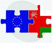 stock photo of oman  - European Union and Oman Flags in puzzle isolated on white background - JPG