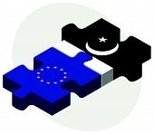 foto of pakistani flag  - European Union and Pakistan Flags in puzzle isolated on white background - JPG