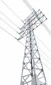 image of power transmission lines  - Power transmission tower isolated on white background - JPG