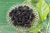 picture of testis  - Ripe mulberry berries in a plate - JPG