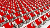 image of row houses  - House models in rows isolated on white background - JPG