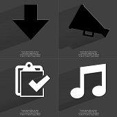 pic of tasks  - Arrow directed down Megaphone Task completed icon Note sign - JPG