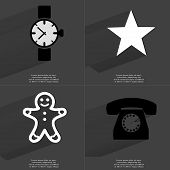 foto of wrist  - Wrist watch Star Gingerbread man Retro phone - JPG