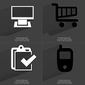 image of tasks  - Monitor Shopping cart Task completed icon Mobile phone - JPG
