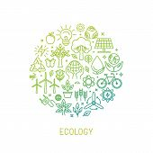 image of nature conservation  - Vector ecology illustration with icons and signs in linear style  - JPG