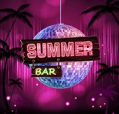 Постер, плакат: Summer Disco Background Disco Poster