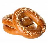 stock photo of sesame seed  - Bagels with sesame seeds isolated on white background - JPG