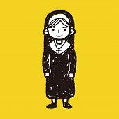 stock photo of nun  - Nun Doodle - JPG