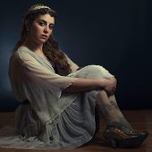 stock photo of nose ring  - Girl In Head Band And Sparkly Shoes - JPG