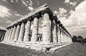 stock photo of ceres  - Temple of Hera in black an white the famous Paestum archaeological site today unesco world heritage - JPG