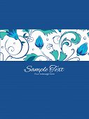 image of swirly  - Vector blue green swirly flowers stripe frame vertical card invitation template graphic design - JPG