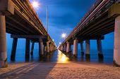 foto of virginia  - A twilight shot of the Chesapeake Bay Bridge as seen from the Virginia Beach side on the Chesapeake Bay - JPG