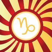 picture of capricorn  - Yellow icon with zodiac Capricorn symbol - JPG