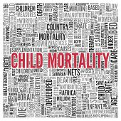 stock photo of saharan  - Close up CHILD MORTALITY Text at the Center of Word Tag Cloud on White Background - JPG