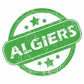 image of algiers  - Round green rubber stamp with name Algiers and stars - JPG