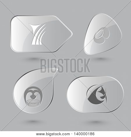 4 images of unique abstract forms.Glass buttons on gray background. Vector icons set.