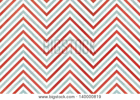 Watercolor Red And Blue Stripes Background, Chevron.